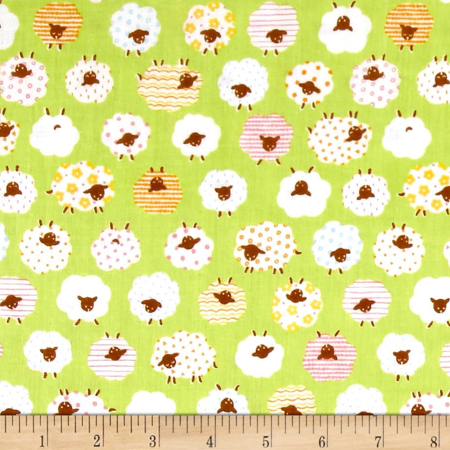 Cosmo The Flock Sheep Printed Double Gauze Lime