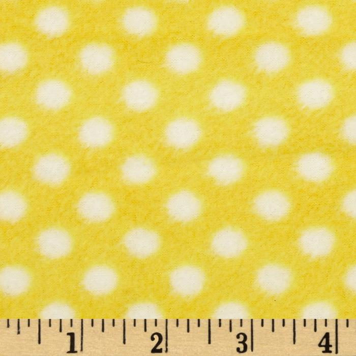 Fleece Polka Dot Yellow/White Fabric By The Yard