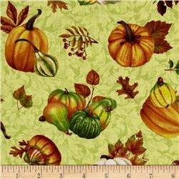 Harvest Abundance Pumpkins and Gourds Light Green