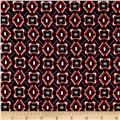 Diamonds & Squares Rayon Crepon Print Red/Purple