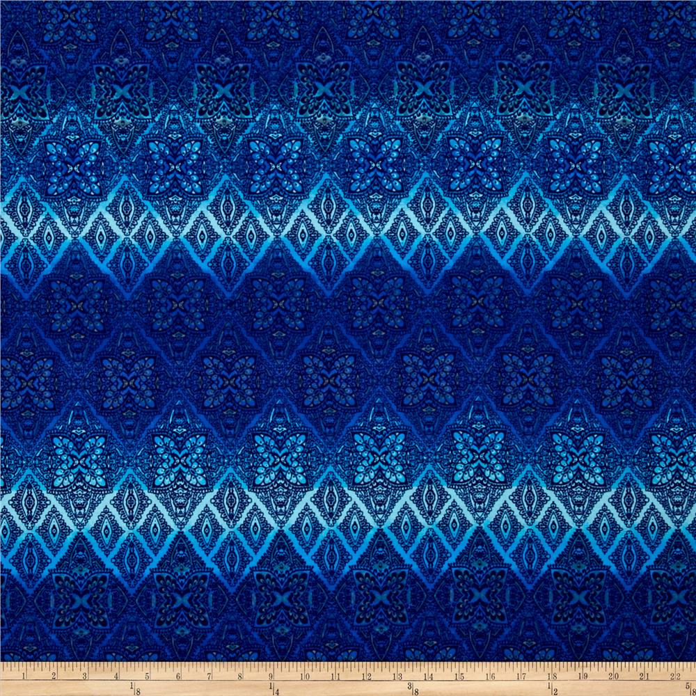 Lightweight Jersey Knit Mosaic Diamond Ombre Blue