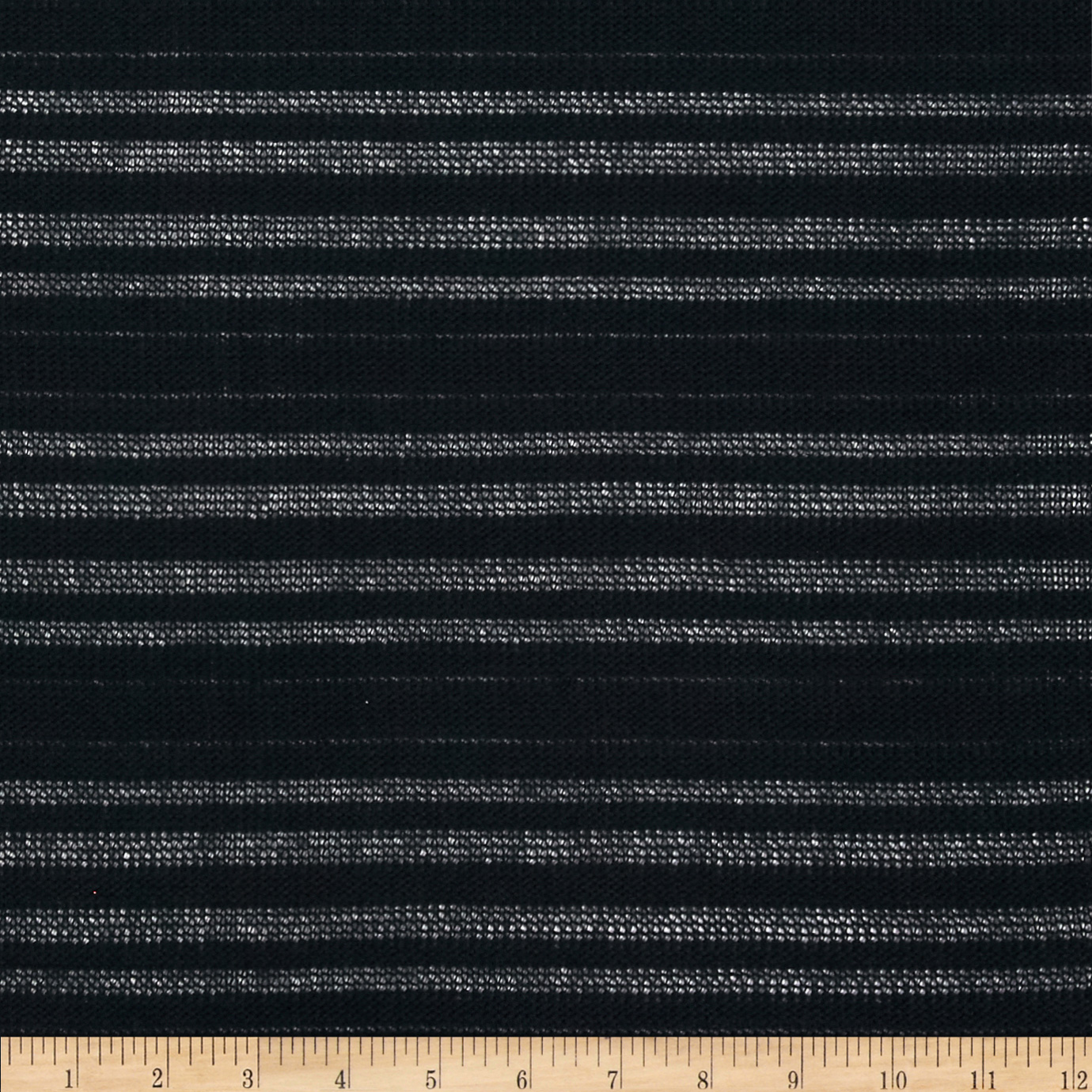 Designer Cotton Sweater Knit Burnout Stripe Black Fabric