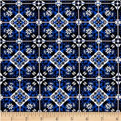 Telio Bloom Stretch Cotton Sateen Spanish Tile Print Blue