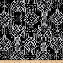 Rayon Challis Tribal White Dimond Shapes on Black