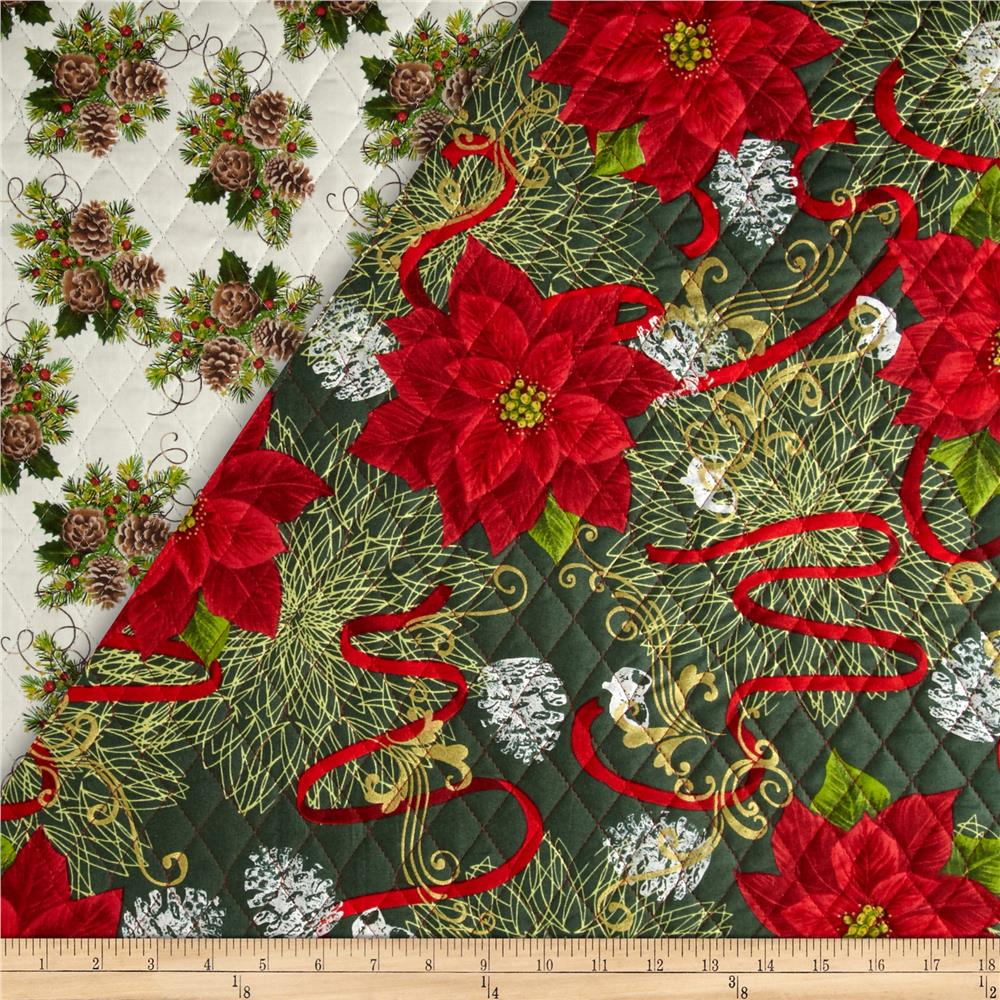 Christmas Day Double Sided Quilted Ribbons Amp Poinsettias