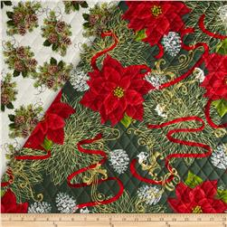 Christmas Day Double-Sided Quilted Ribbons & Poinsettias Multi