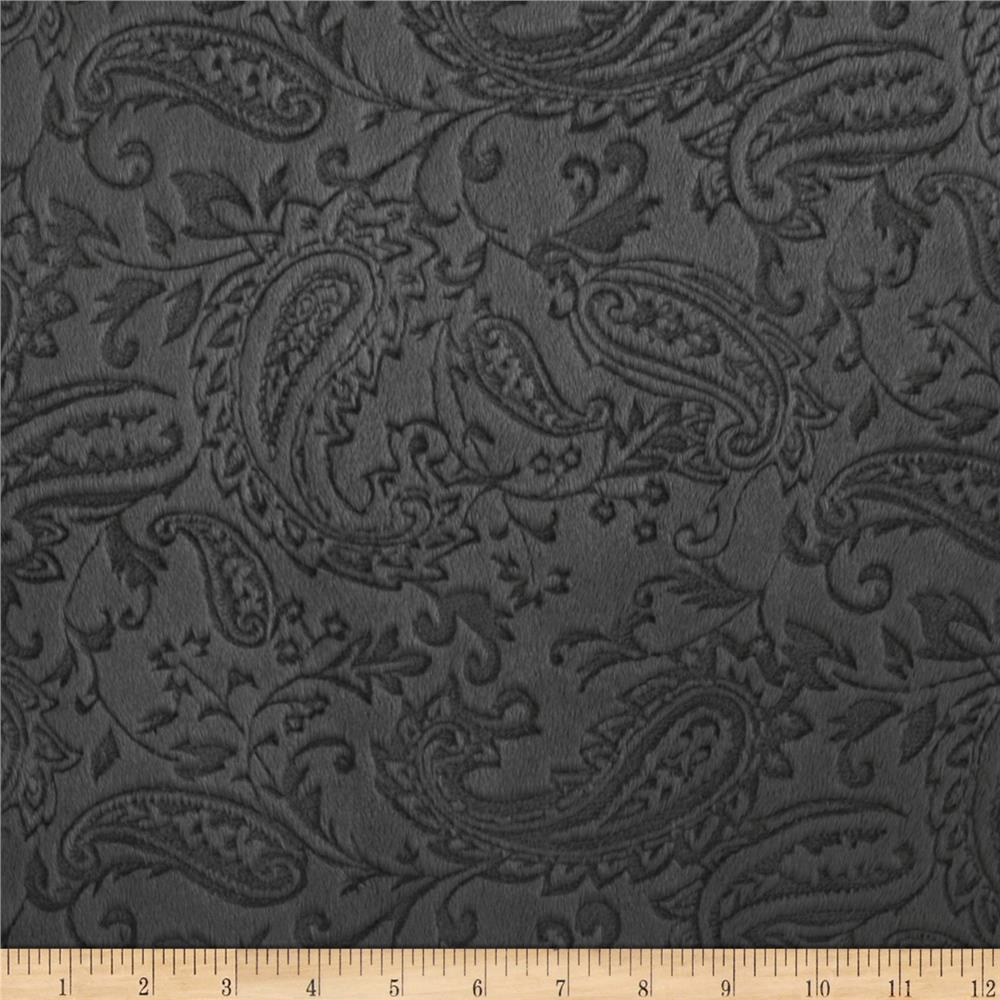 Minky Cuddle Embossed Paisley Charcoal