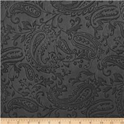 Minky Paisley Cuddle Embossed Charcoal Fabric