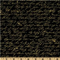 Timeless Treasures Library Script Black