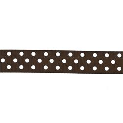 "May Arts 5/8"" Grosgrain Dots Ribbon Spool Brown/White"