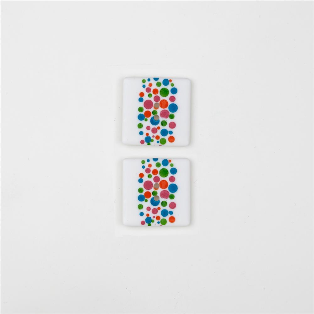 Dill Novelty Button 1'' Multi Dots on Square White