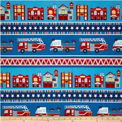 Firehouse Friends Village Stripe Blue Fabric