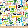Timeless Treasures Dog Bones & Paw Prints White