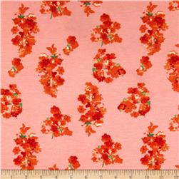 Stretch Ponte de Roma Knit Florals Pink/Orange
