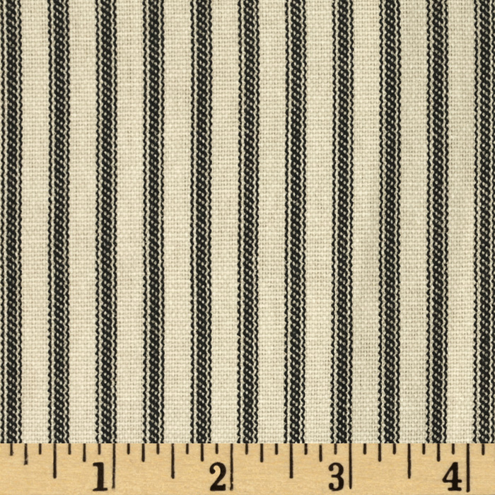 Ticking Stripe Black/Ivory Fabric
