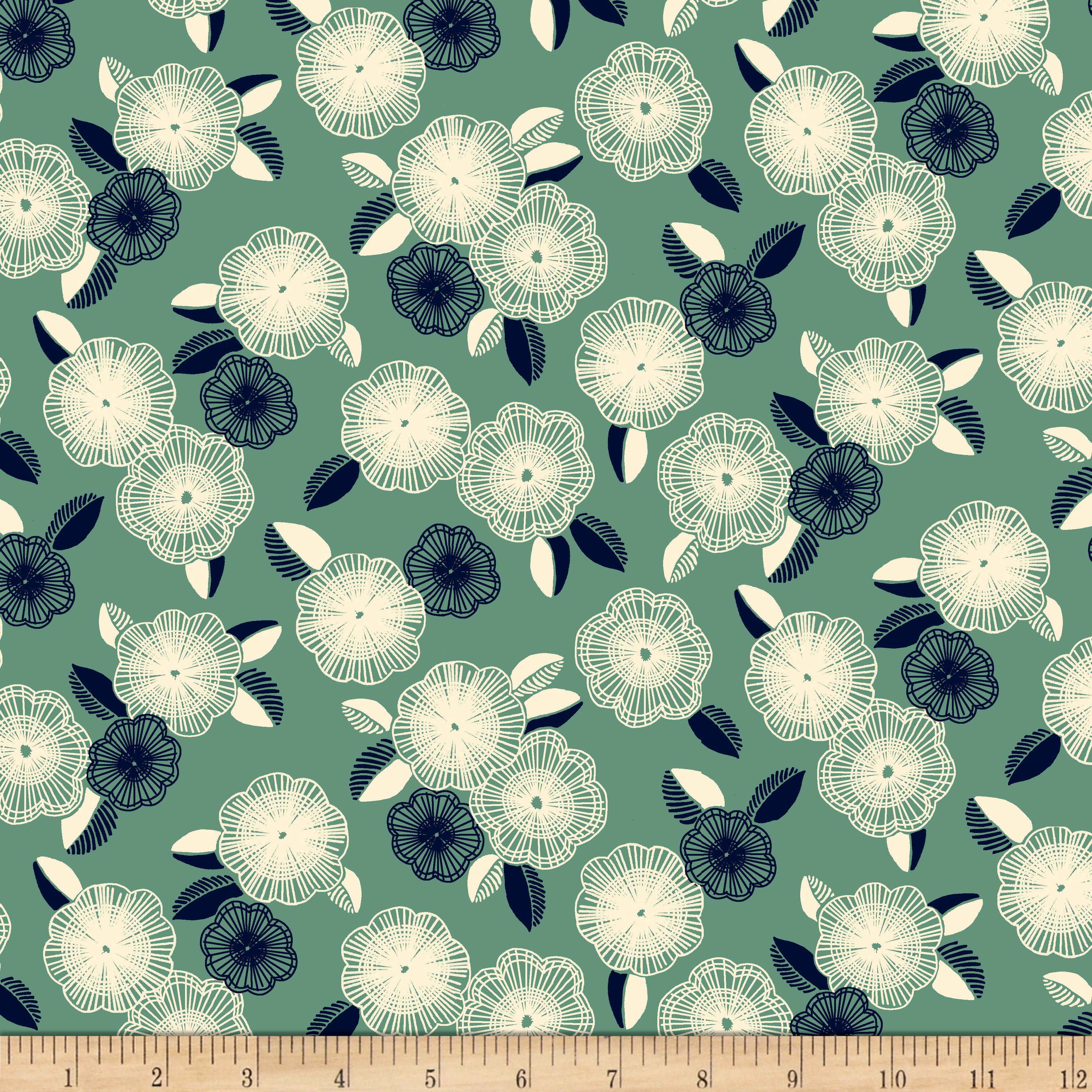1930s Vintage Dresses, Clothing & Patterns Links QT Fabrics Gretta 1930s Spaced Floral Green $9.48 AT vintagedancer.com
