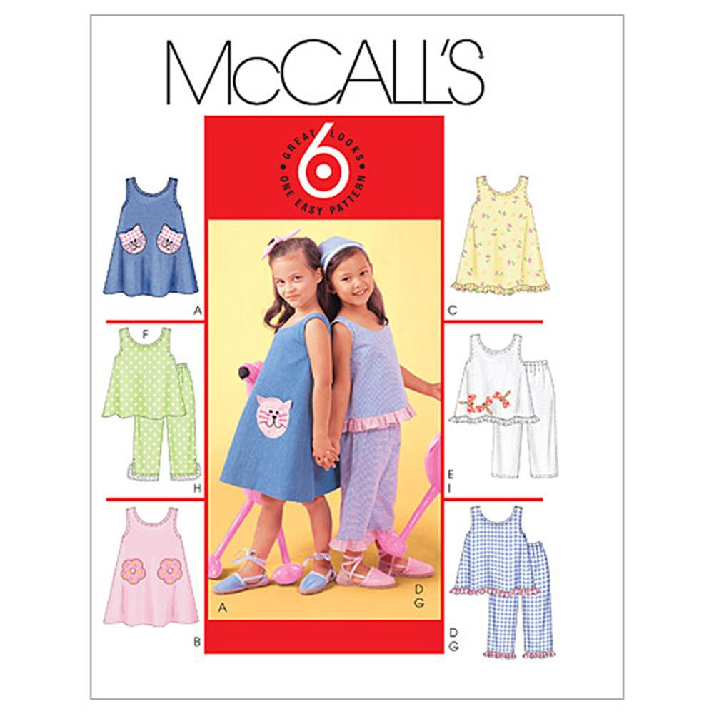McCall's Children's & Girls' Dresses, Top & Pants Pattern M4006 Size CCE