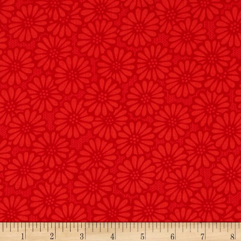 "110"" Wide Quilt Backing Daisy Orange/Red"