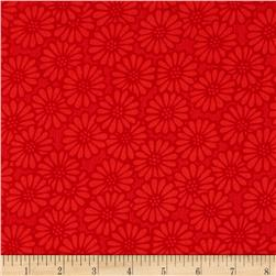 110'' Wide Quilt Backing Daisy Orange/Red
