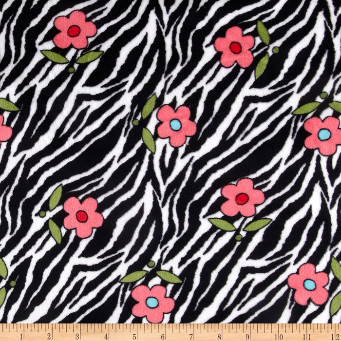 Lagoona Minky Cuddle Zebra Black/White Fabric