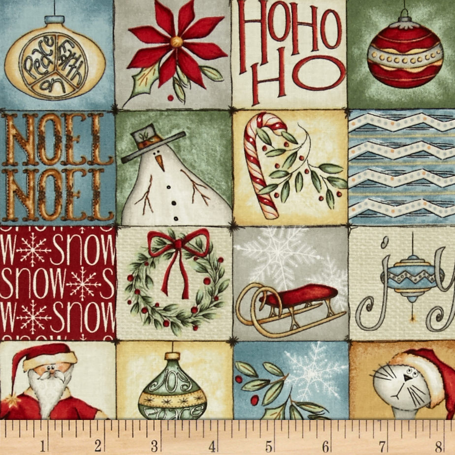 Christmas Whimsy Square Patches Multi Fabric by Red Rooster in USA