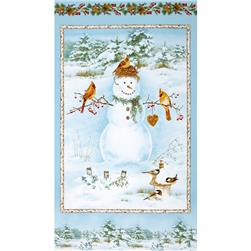 A Winter Song Snowman Panel Light Blue