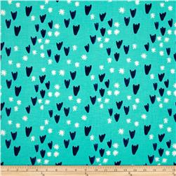 Cotton & Steel Clover Tulips Aqua