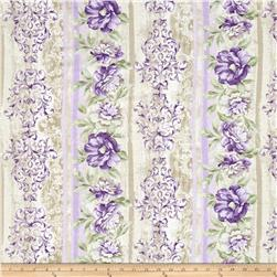 "Timeless Treasures Veranda 11"" Floral Stripe Beige"