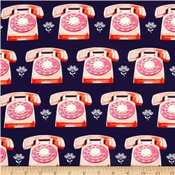 Cotton + Steel Trinket Telephones Navy