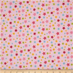Le Elephant Flannel Star Pink Fabric