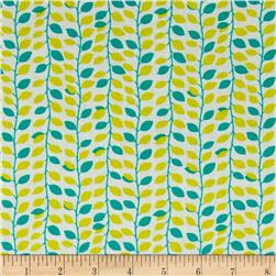 Cotton Lawn Vine Leaves Green/Yellow