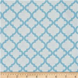Bella Quatrefoil Flannel White/Dreamy Blue