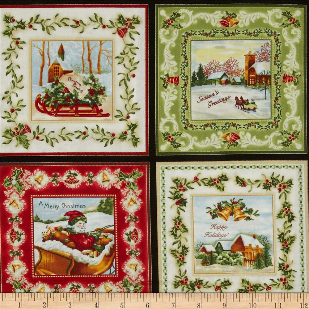 Christmas Bells Metallics Christmas Squares 24 In. Panel Multi Fabric By The Yard