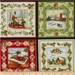 Christmas Bells Metallics Christmas Squares 24 In. Panel Multi