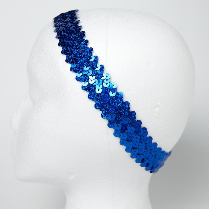 "1 1/4"" Hologram Sequin Stretch Headband Royal"