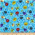Quilting Treasures Monster Mash Mini Monster Toss Blue