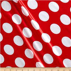 Charmeuse Satin Large Polka Dots Cherry/White