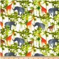 Comfy Flannel Jungle Animals & Trees Cream