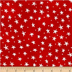 Flannel Novelties Tiny Tossed Stars Red/White
