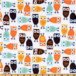 Kaufman Minky Cuddle Night Owl Orange/Brown Fabric
