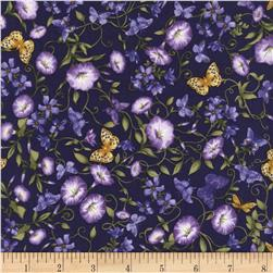 Timeless Treasures Violet Butterflies & Violet Flowers Purple