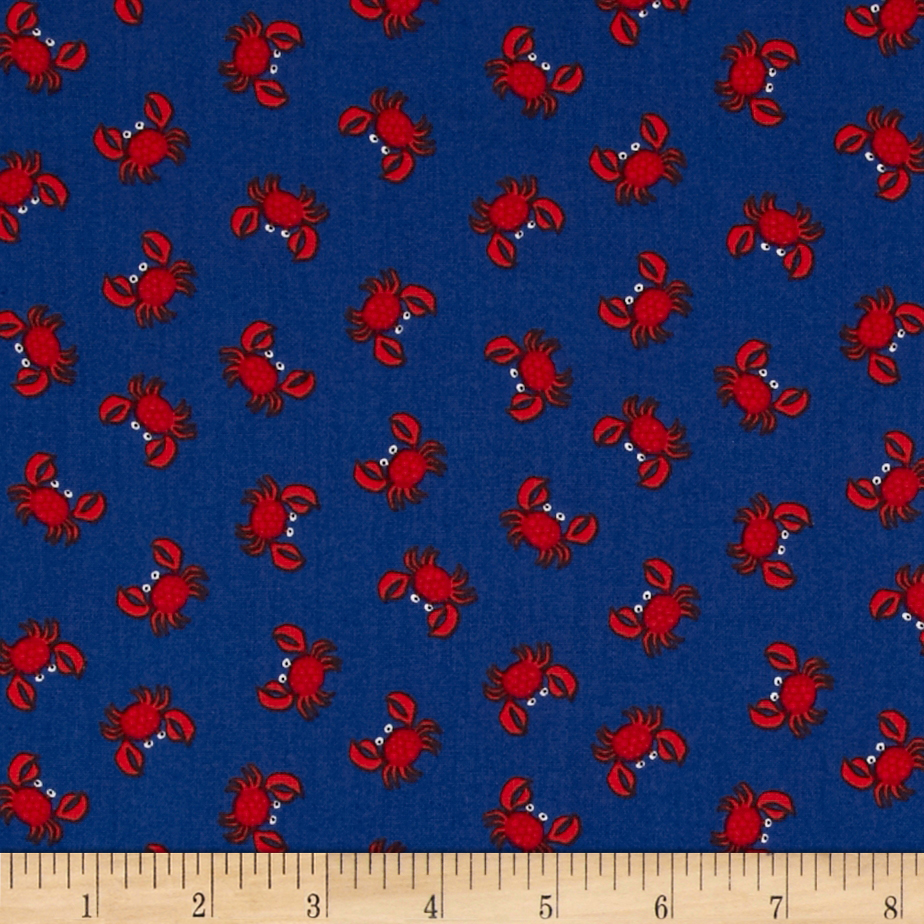 Timeless Treasures Mini Crabs Navy Fabric