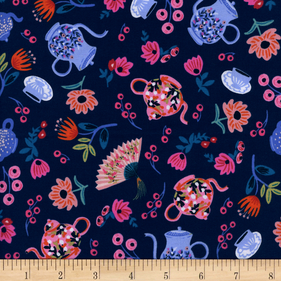Image of Cotton + Steel Rifle Paper Co. Wonderland Garden Party Navy Fabric