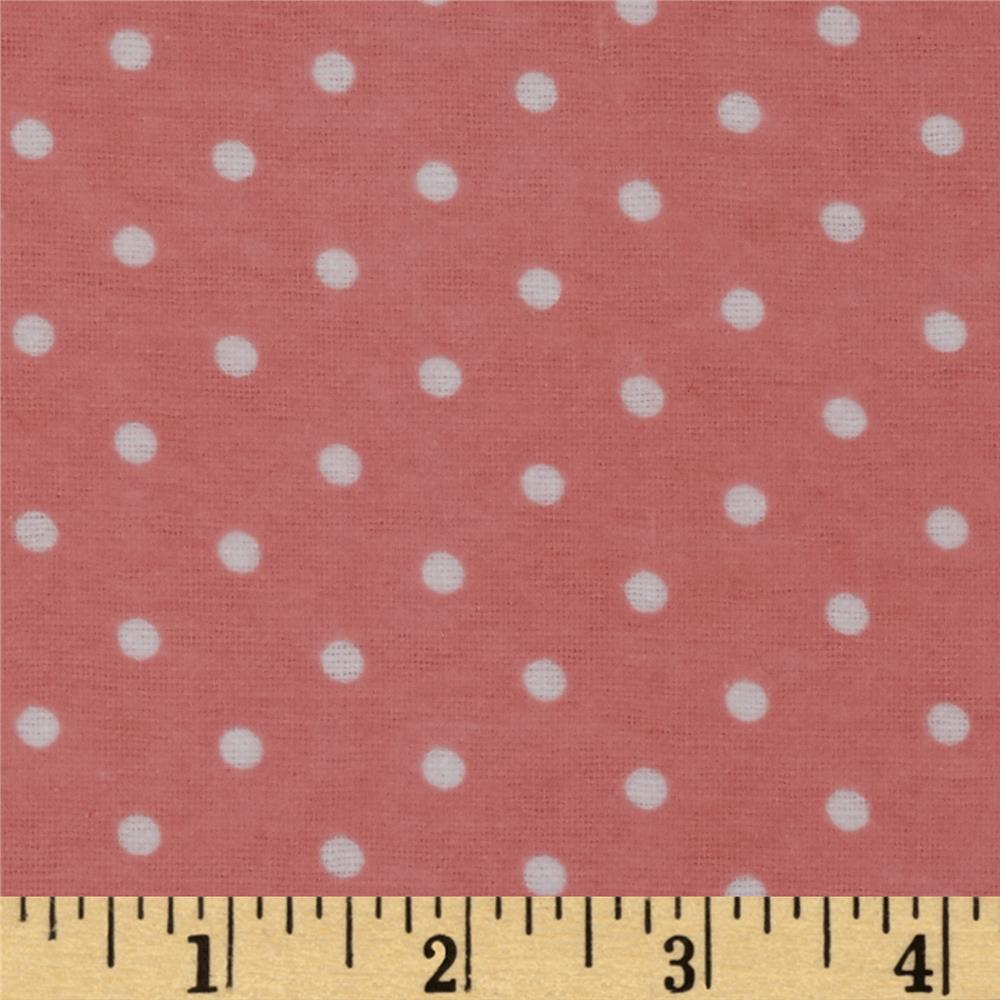 Dreamland Flannel Swiss Dots Coral Blossom