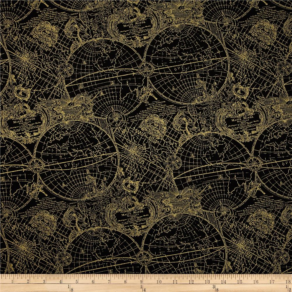 Gold standard metallic new world map black gold discount for Black fabric