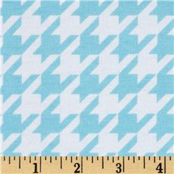 Riley Blake Cotton Jersey Knit Medium Houndstooth Aqua