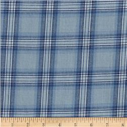 Cotton Yarn Dye Chambray Large Plaid Blue/Silver Metallic