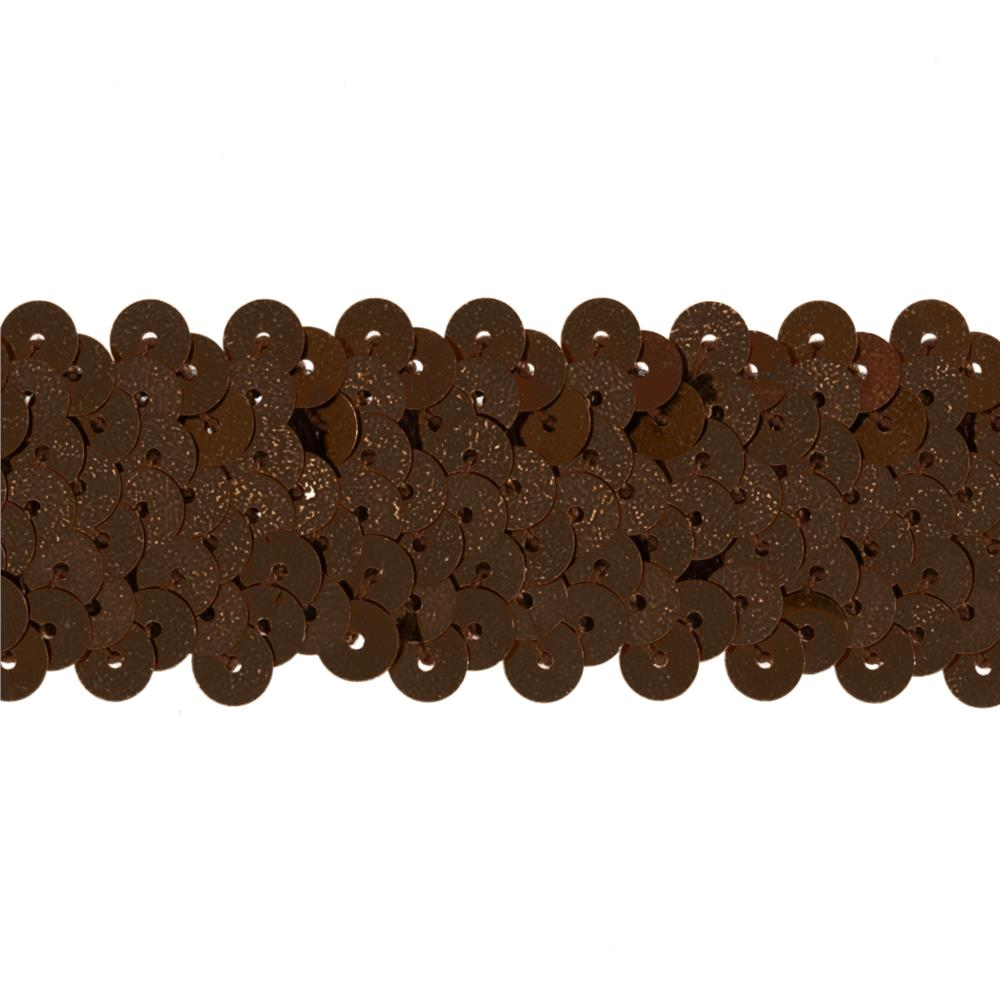 "1 1/2"" Metallic Stretch Sequin Trim Brown"
