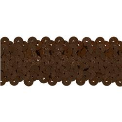 1 1/2'' Metallic Stretch Sequin Trim Brown