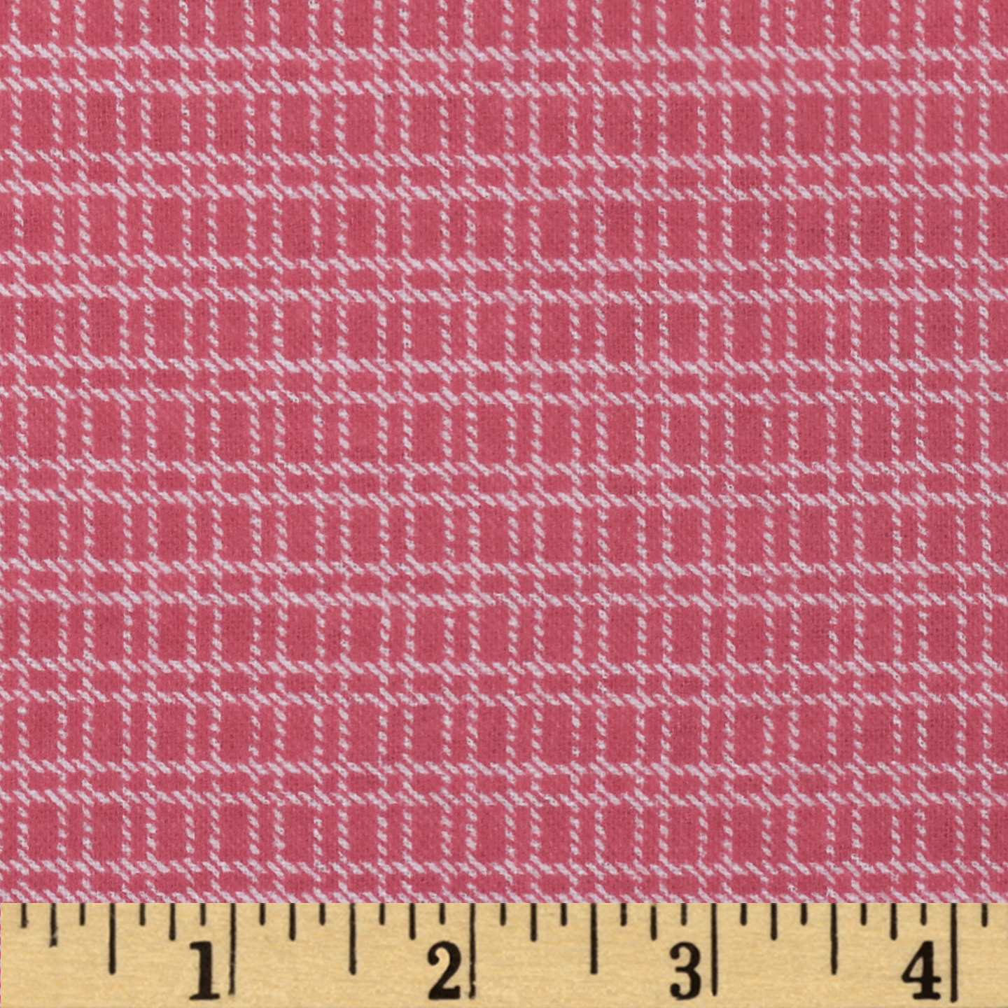 Aunt Polly's Flannel Medium Checkered Pink/White Fabric